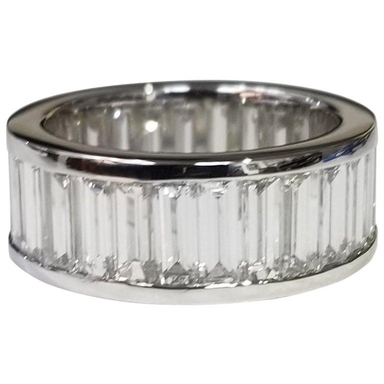 Platinum Channel Set Diamond Baguette Cut Eternity Ring with 7.51 Carat