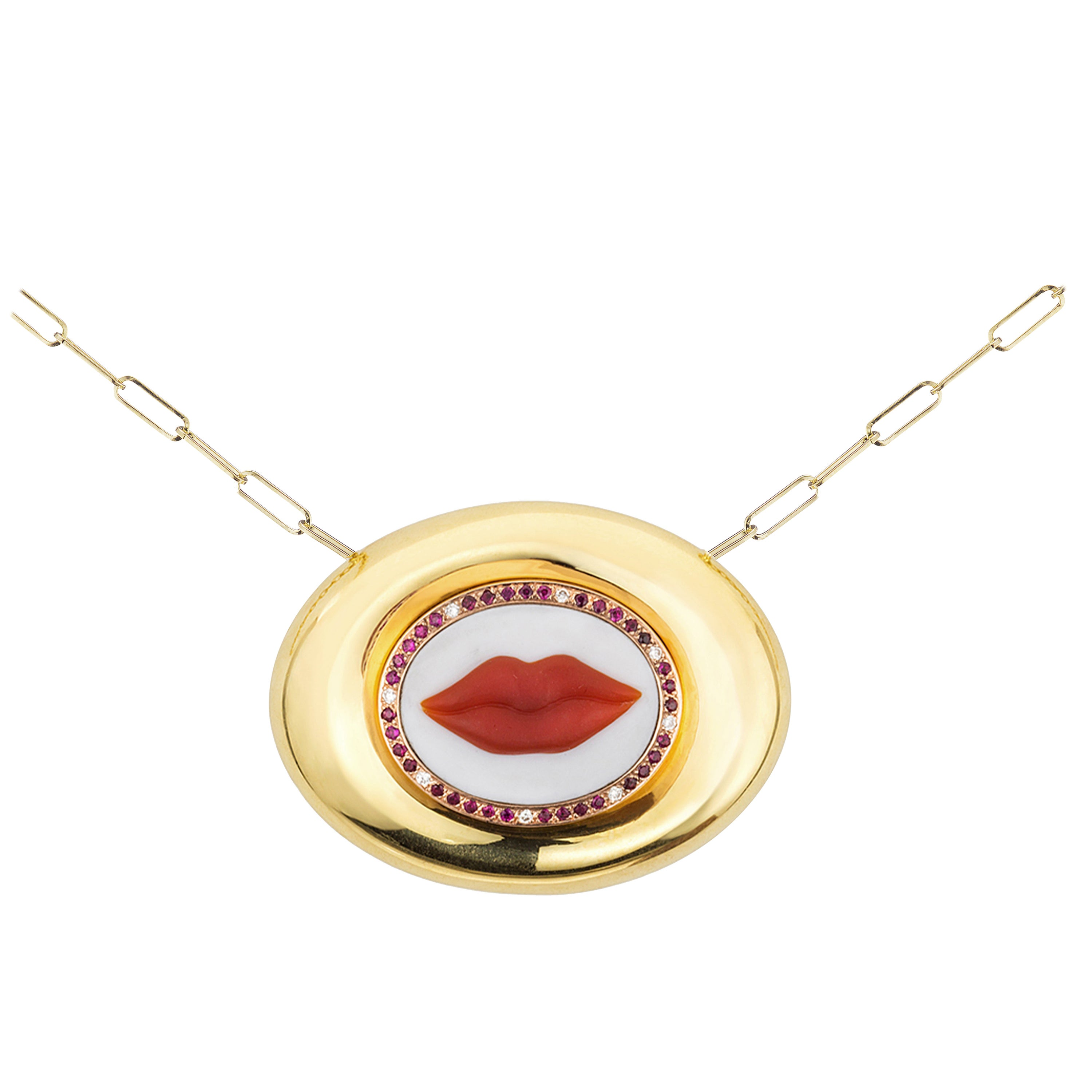 AnaKatarina Hand Carved Agate, Rose Gold, Rubies and Diamond Lips Cameo Necklace