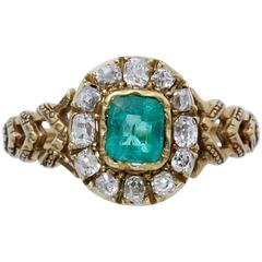 19th Century French Emerald Diamond Gold Cluster Ring