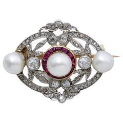 Belle Epoque Pearl Diamond Ruby Platinum Brooch