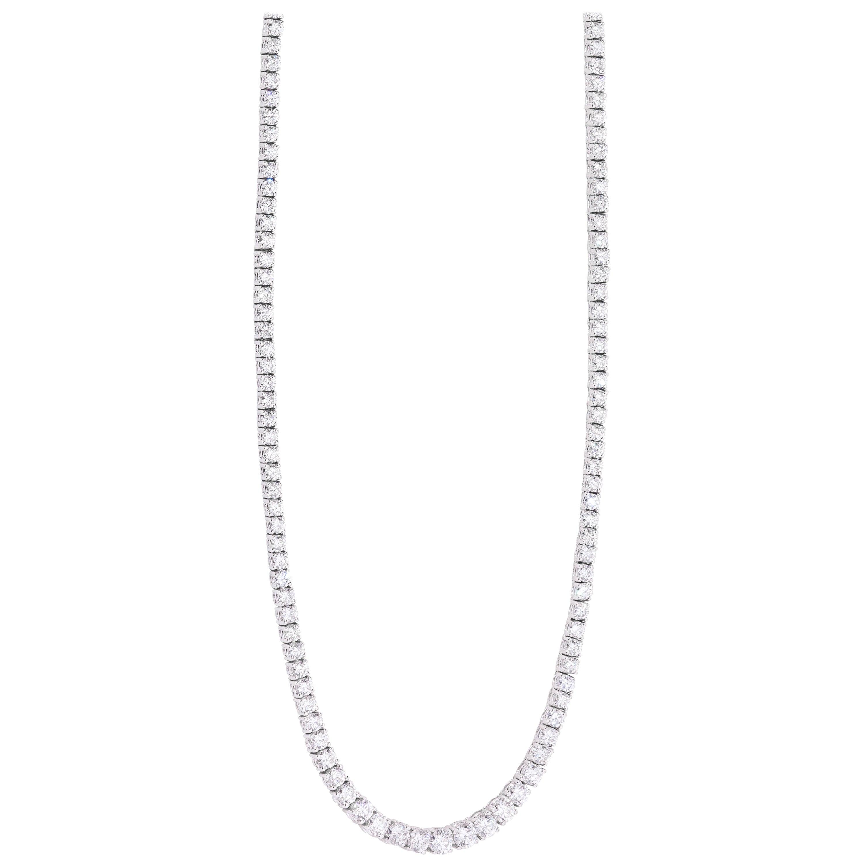 18 Karat White Gold Diamond Riviera Necklace