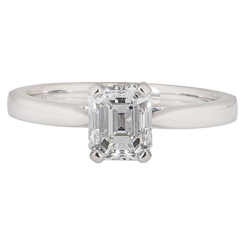 GIA Certified Platinum Emerald Cut Diamond Engagement Ring 1.18 Carat E/VVS1