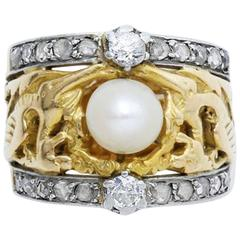 Art Nouveau Pearl Diamond Gold Platinum Ring