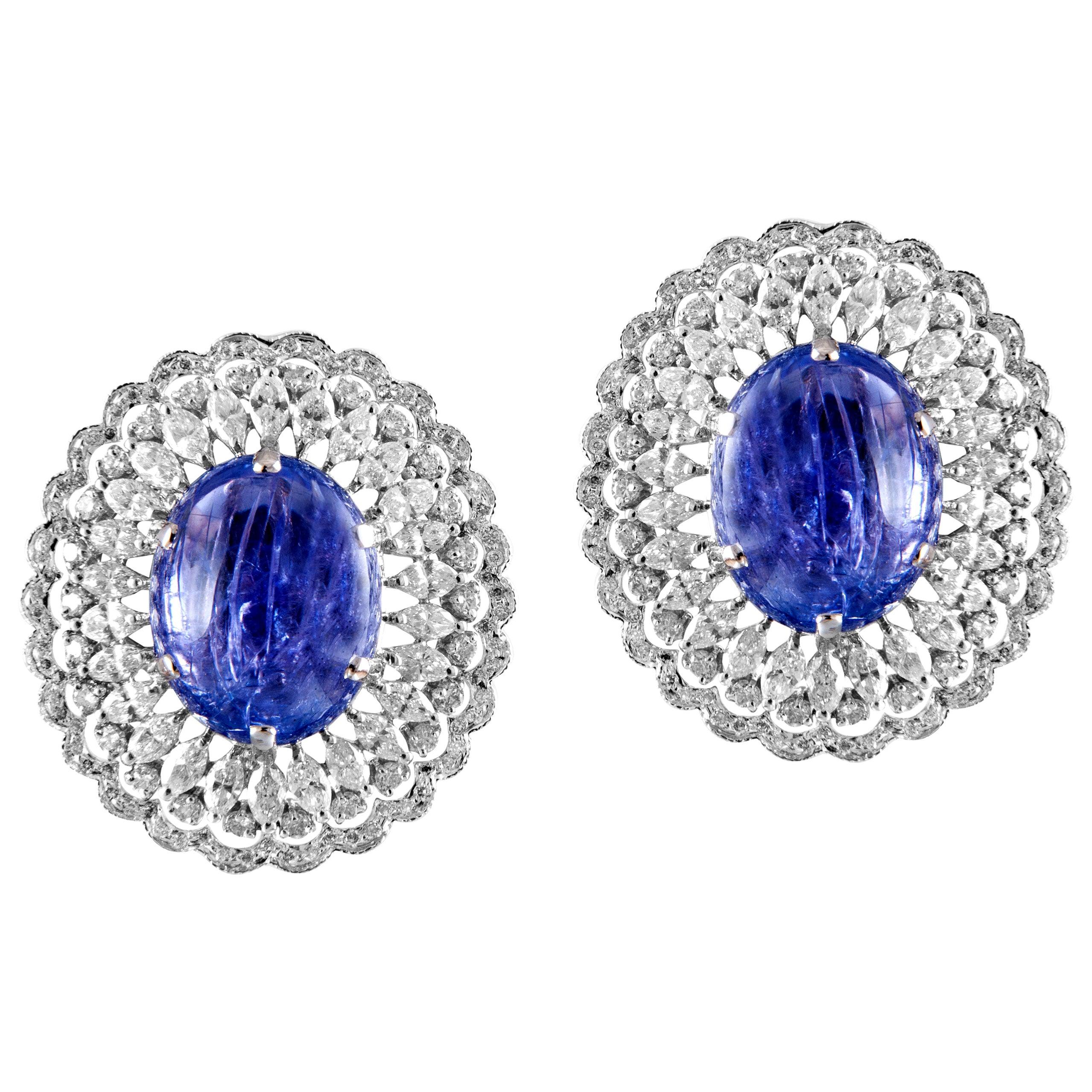 18 Karat White Gold White Diamond Tanzanite Stud Earrings