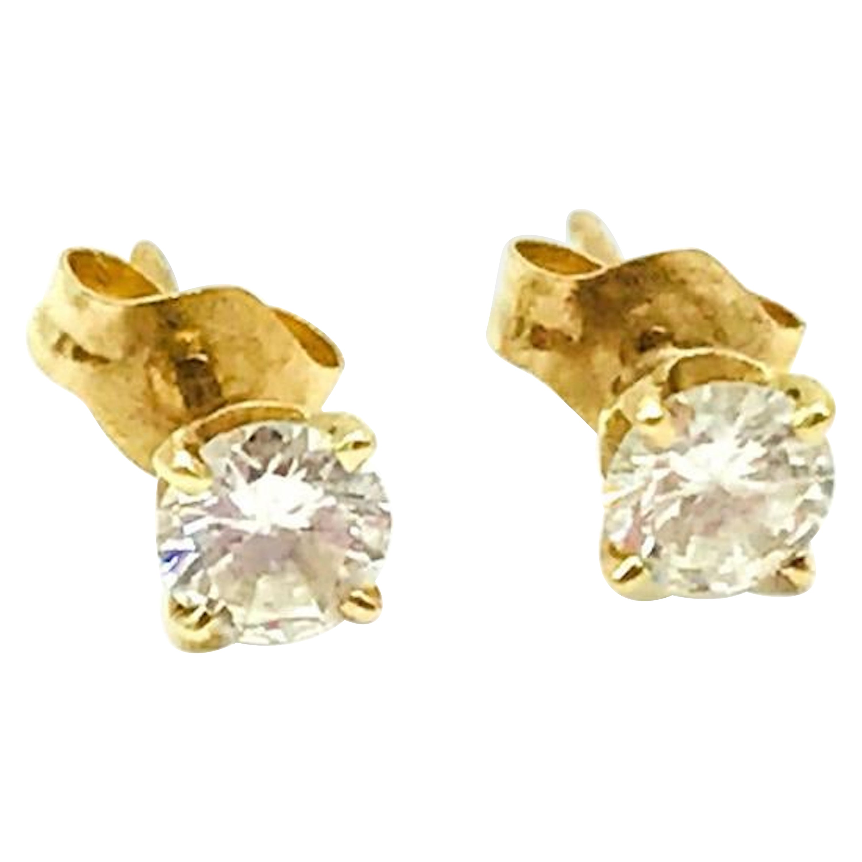 Diamond Stud Earrings 60 Carat VS2-G, 14 Karat Yellow Gold