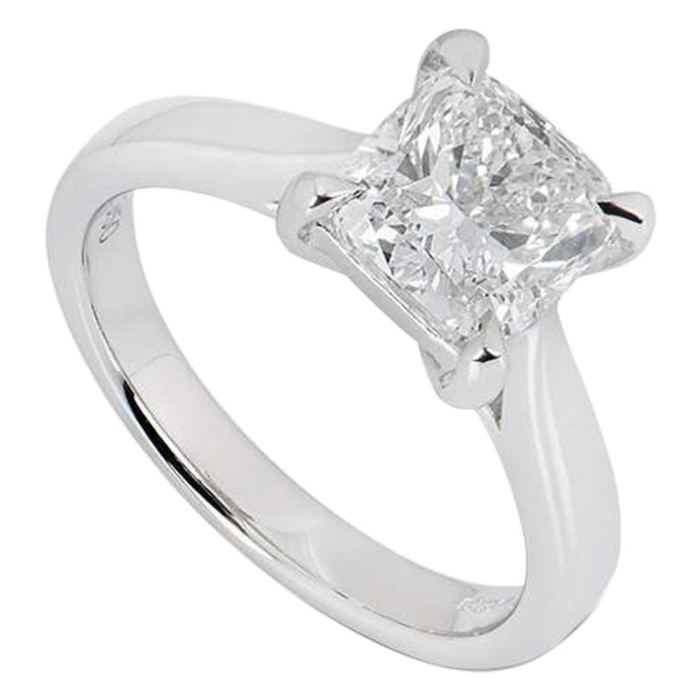 GIA Certified Platinum Cushion Cut Diamond Engagement Ring 2.00 Carat F/VS2