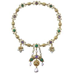 John Paul Cooper the Kingfisher Emerald Pearl Ruby Gold Arts & Crafts Necklace