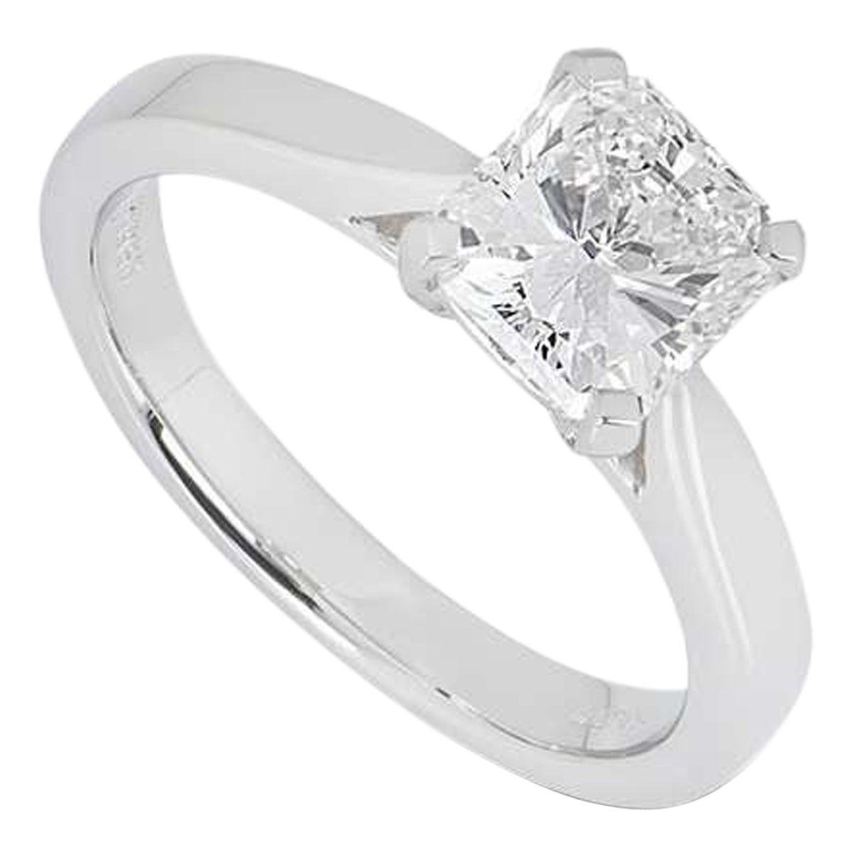 GIA Certified Platinum Radiant Cut Diamond Engagement Ring 1.51 Carat G/VS2
