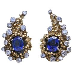 1960s Charles de Temple Sapphire Diamond Gold Cornucopia Stud Cluster Earrings