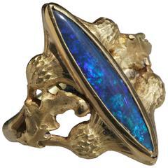 ART NOUVEAU Royal blue opal Ring 'Flower of Scotland'