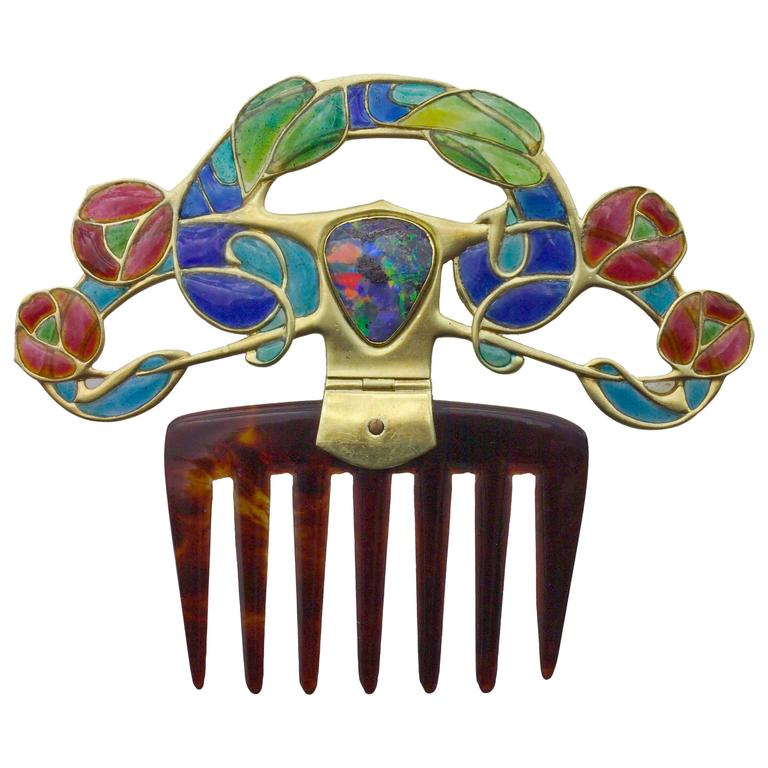 Archibald Knox Art Nouveau Opal Enamel Gold Diadem Comb for Liberty & Co. For Sale