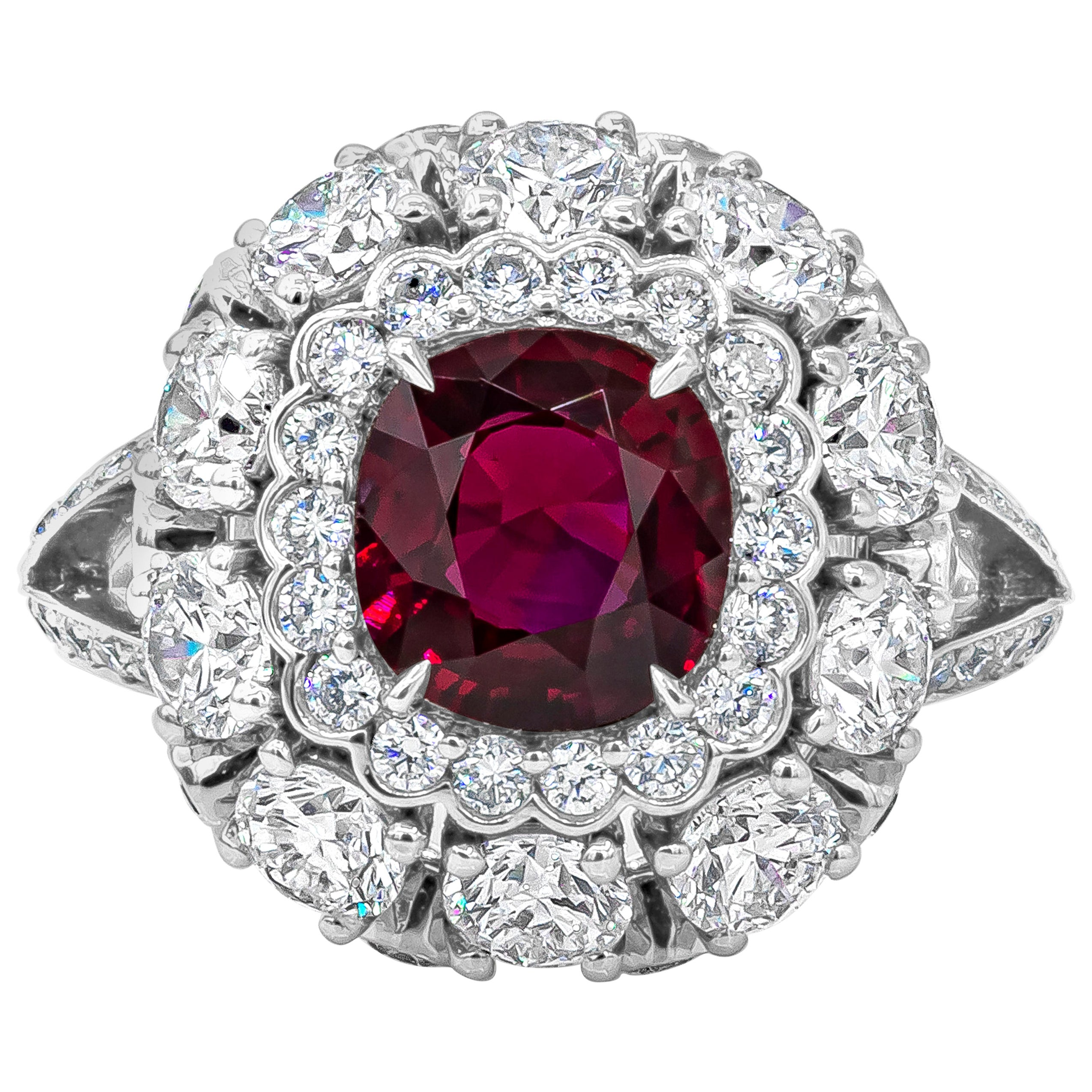 AGL Certified No-Heat Burmese Ruby and Diamond Halo Engagement Ring