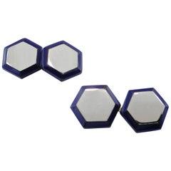Jona Sterling Silver Enamel Hexagonal Cufflinks