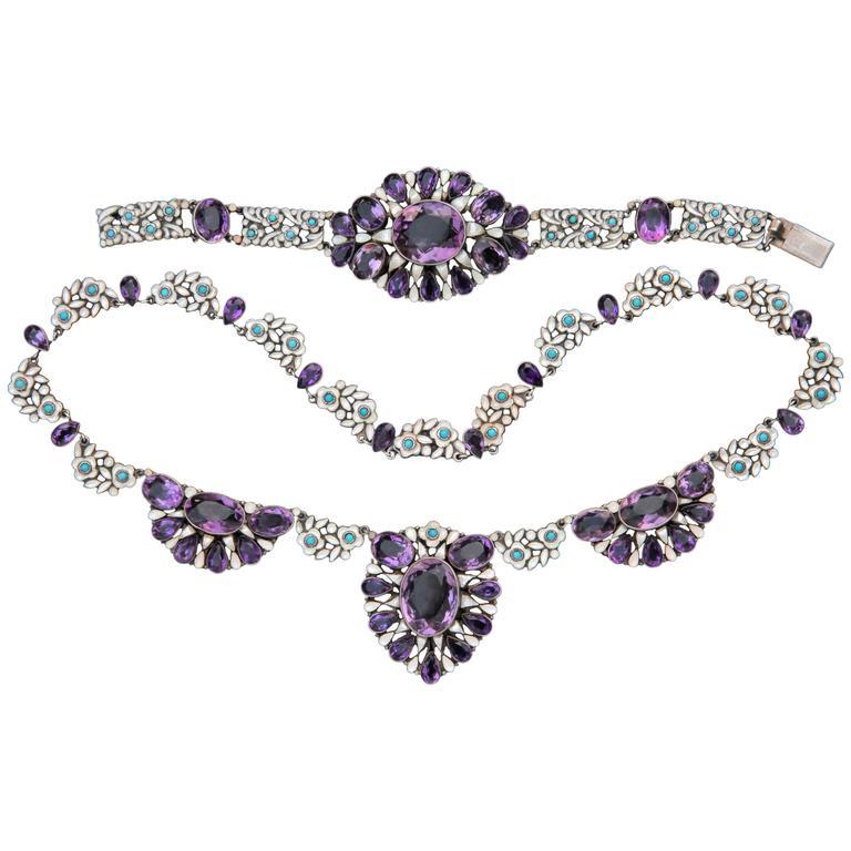Bernard Instone Amethyst Turquoise Silver Arts and Crafts Necklace Bracelet Set