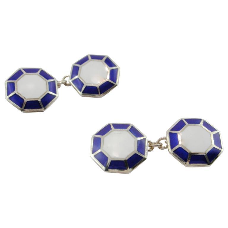 Jona Sterling Silver Enamel Octagonal Cufflinks For Sale