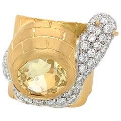 "18 Karat Gold ""Snail"" Diamonds Ring"