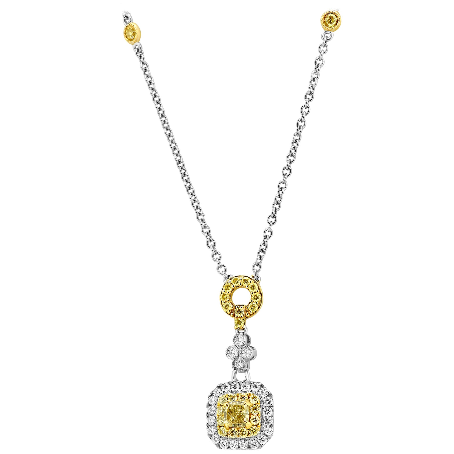 Fancy Yellow Diamond Double Halo Two Color Gold Pendant Drop Chain Necklace