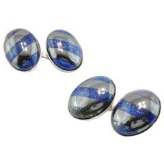 Jona Sterling Silver Hematite and Lapis Lazuli Cufflinks