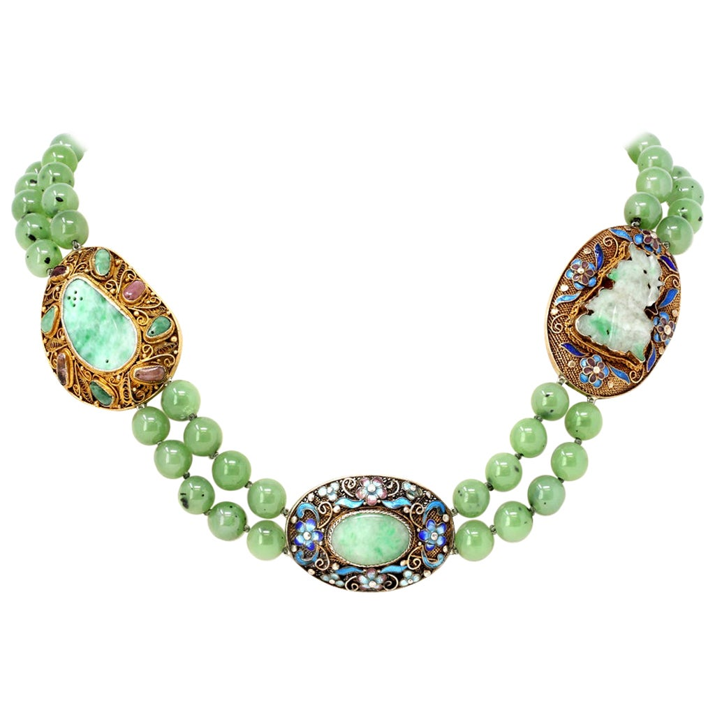 Chinese Nephrite Beads and Jadeite on Vermeil Spacers Double Strand Necklace