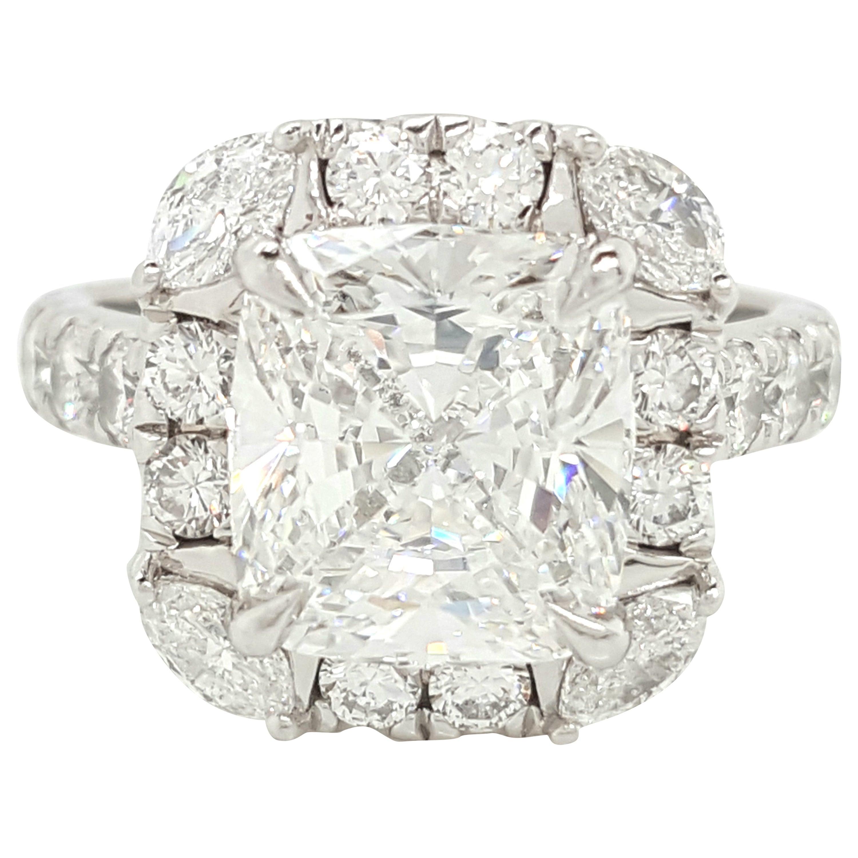 GIA Certified 4.03 Carat Cushion Cut Diamond Platinum Halo Engagement Ring