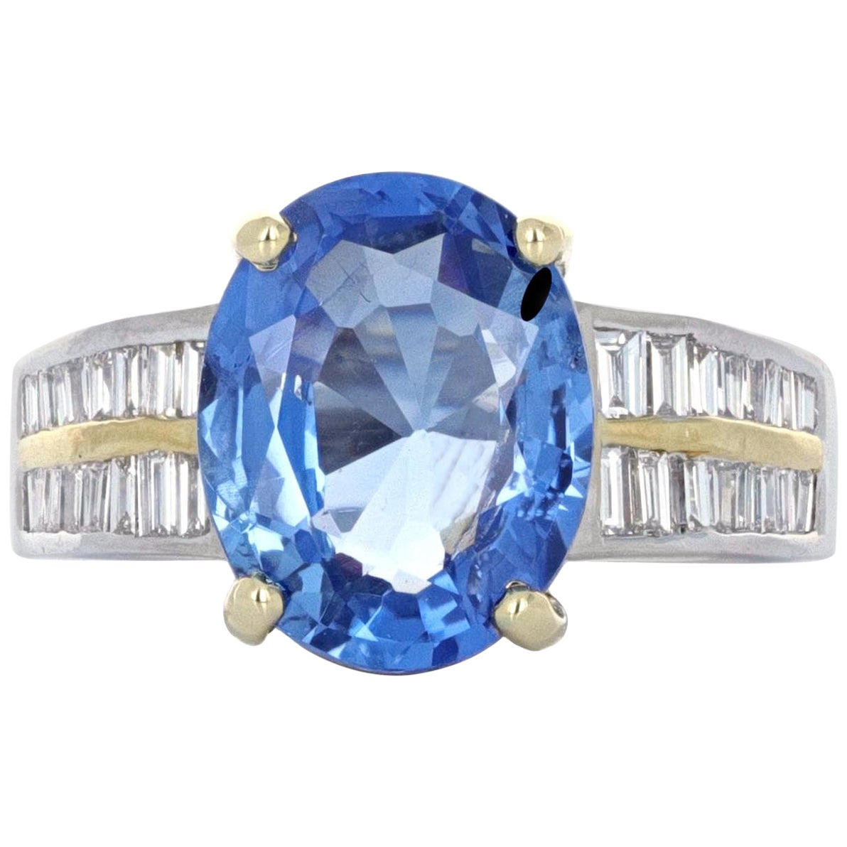 GIA Certified, Retro Style, 5.08 Carat No Heat Sapphire and Diamond Ring