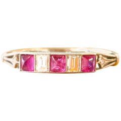 Modern Art Deco Style Ruby Diamond Platinum Ring