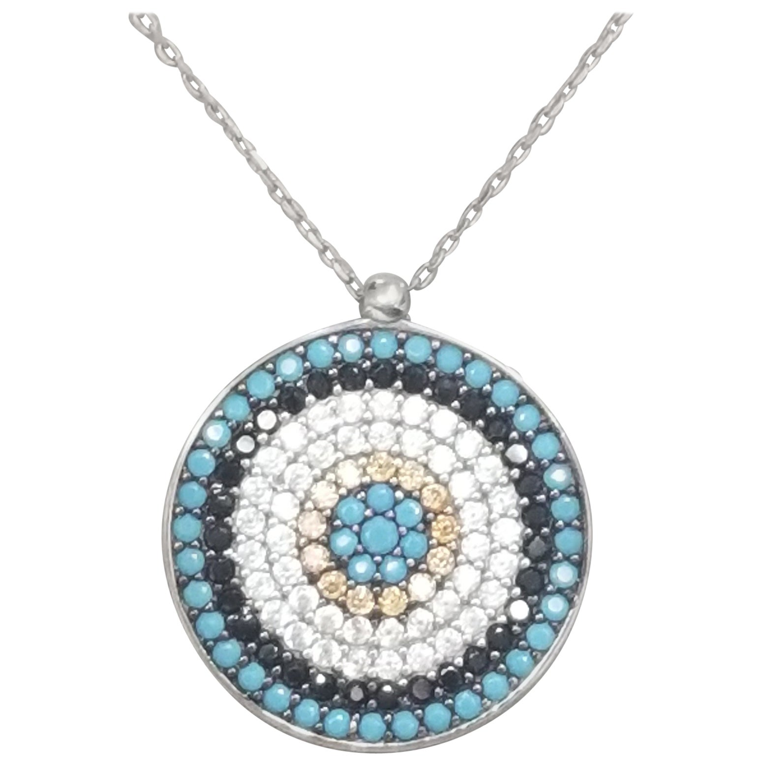 Sterling Silver Pendant with Turquoise and Cubic