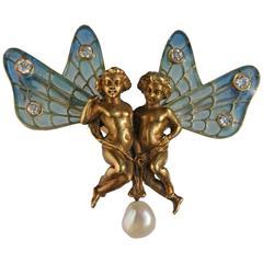Plisson & Hartz Art Nouveau Twin Fairy Diamond Pearl Gold Brooch