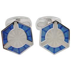 Jona Enamel Sterling Silver Hexagonal Cufflinks