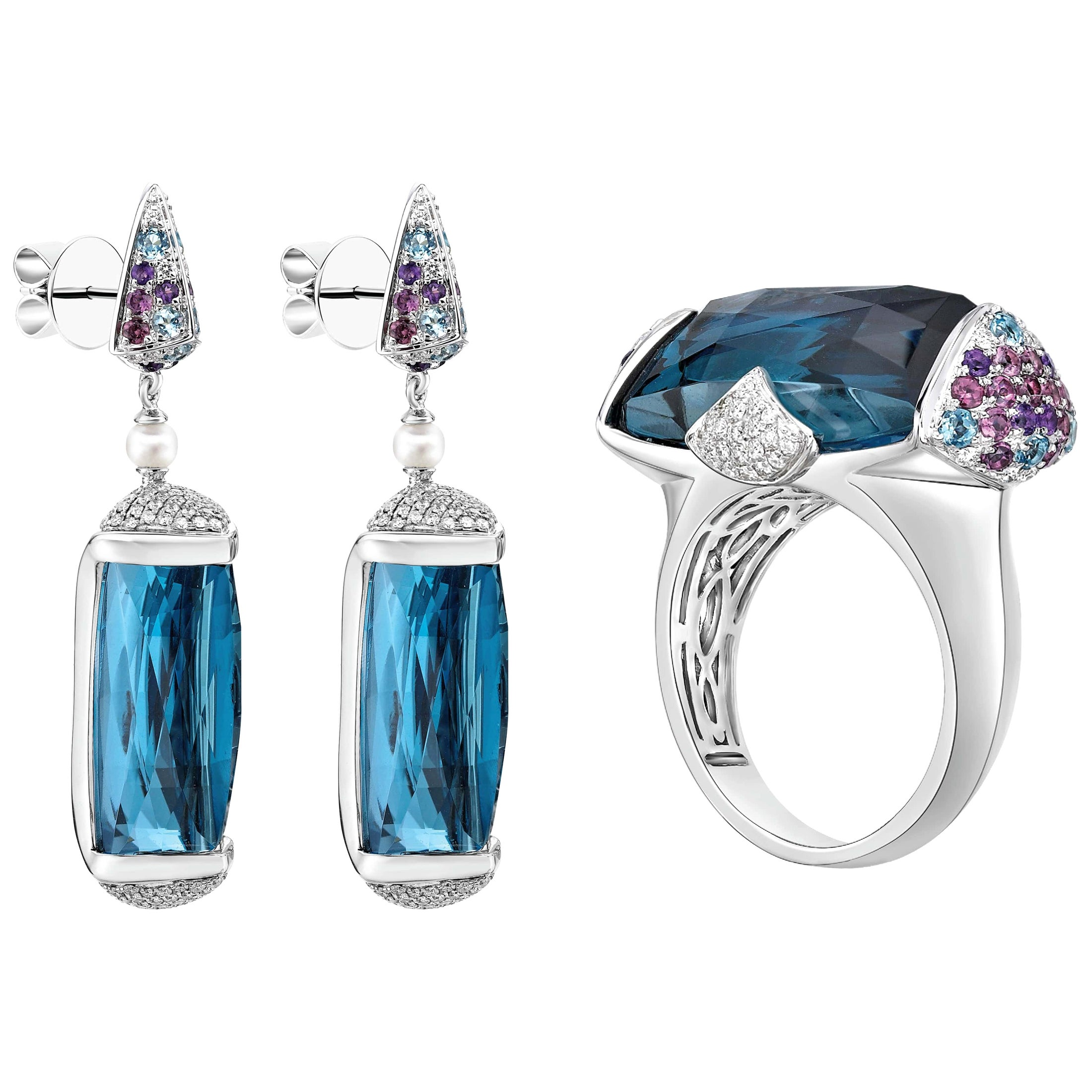 62 Carat Blue Topaz Ring and Earring Set in 18 Karat White Gold with Diamonds