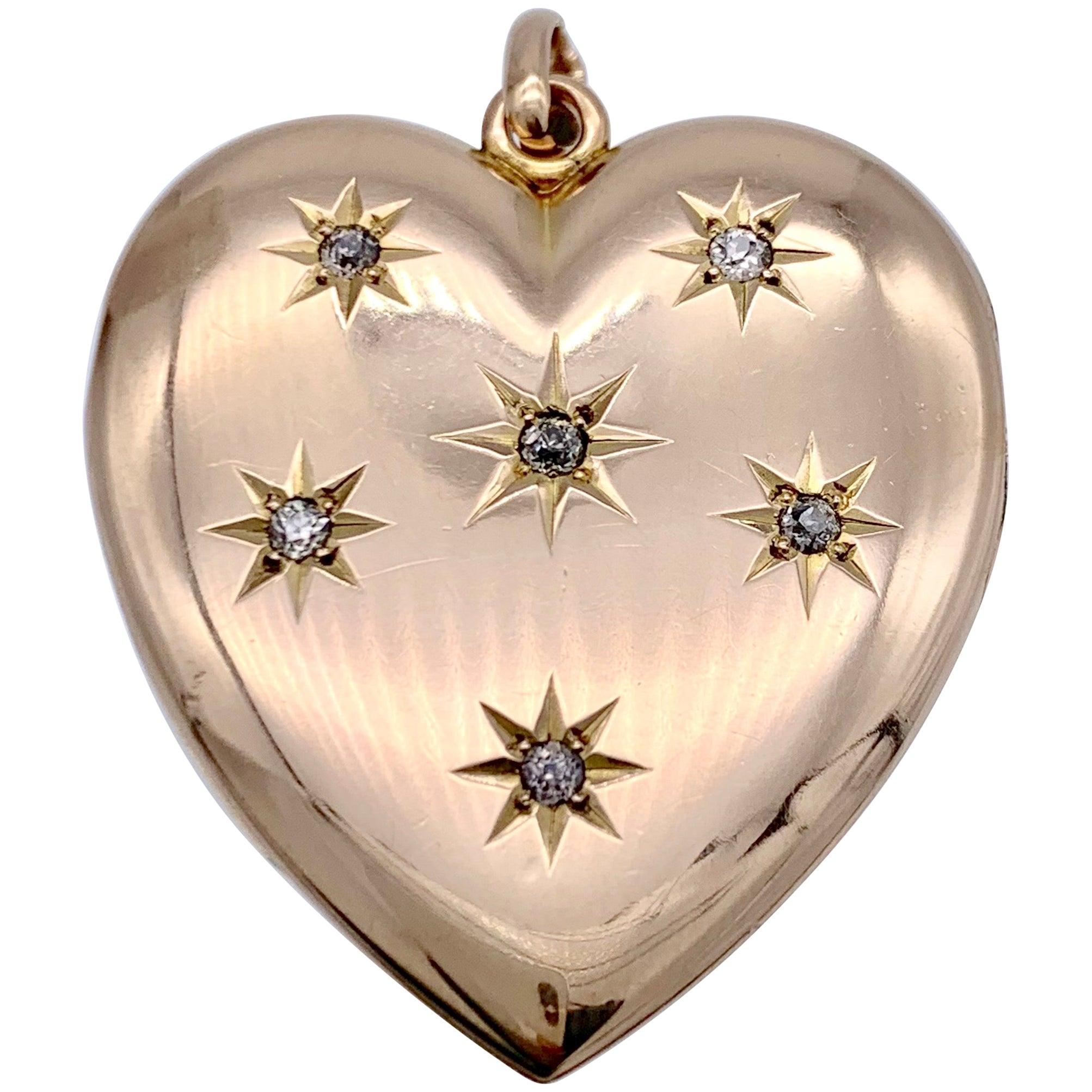 Antique Victorian Heart Locket Pendant 14 Karat Rose Gold Diamonds
