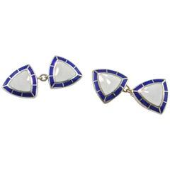Jona Blue and White Enamel Sterling Silver Cufflinks