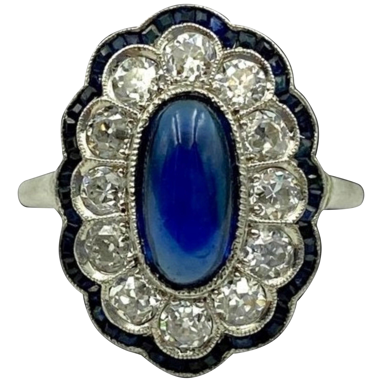 Antique Edwardian Sapphire and Diamond Platinum Engagement Ring