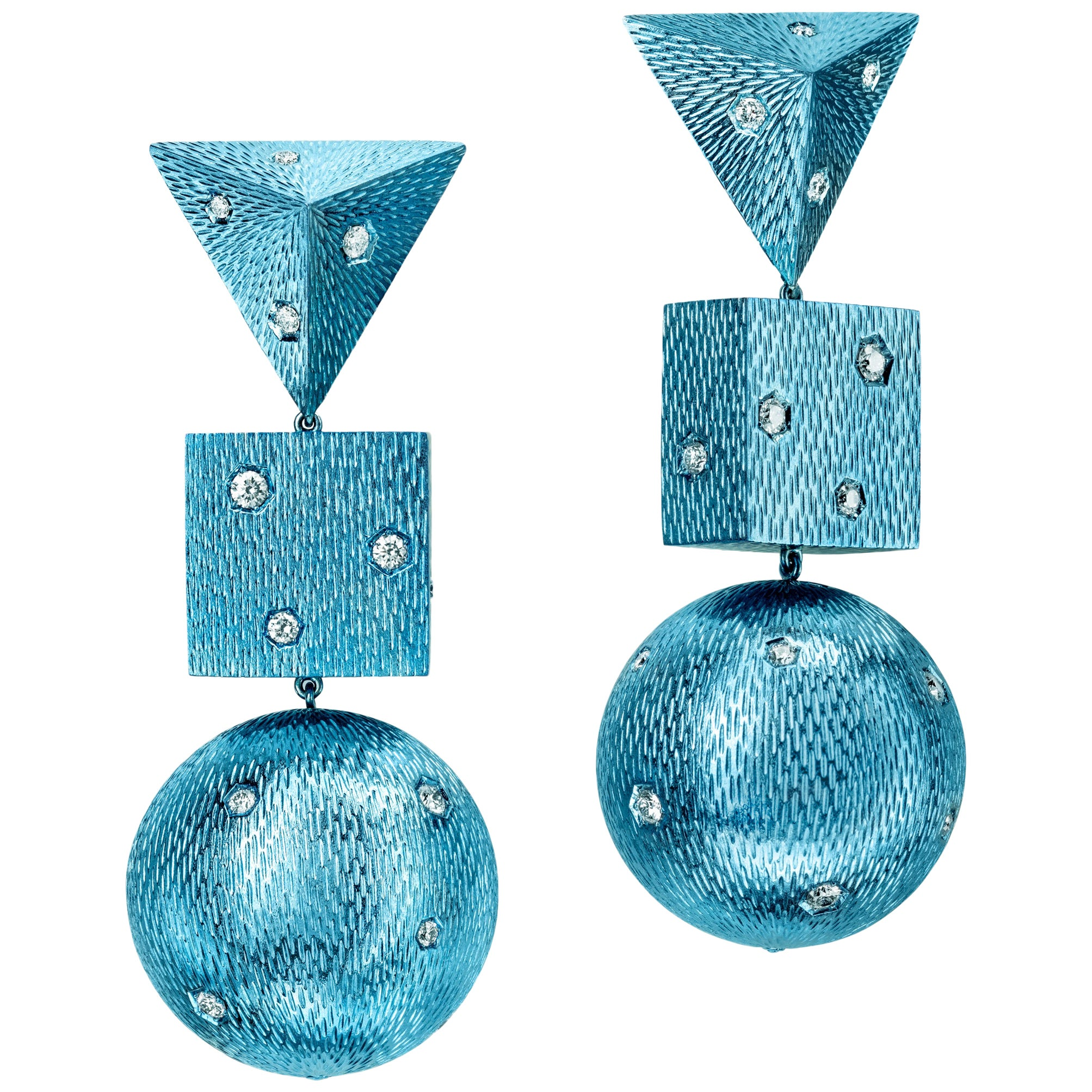 Sabbadini Contemporary Titanium, Gold and Diamond Earrings