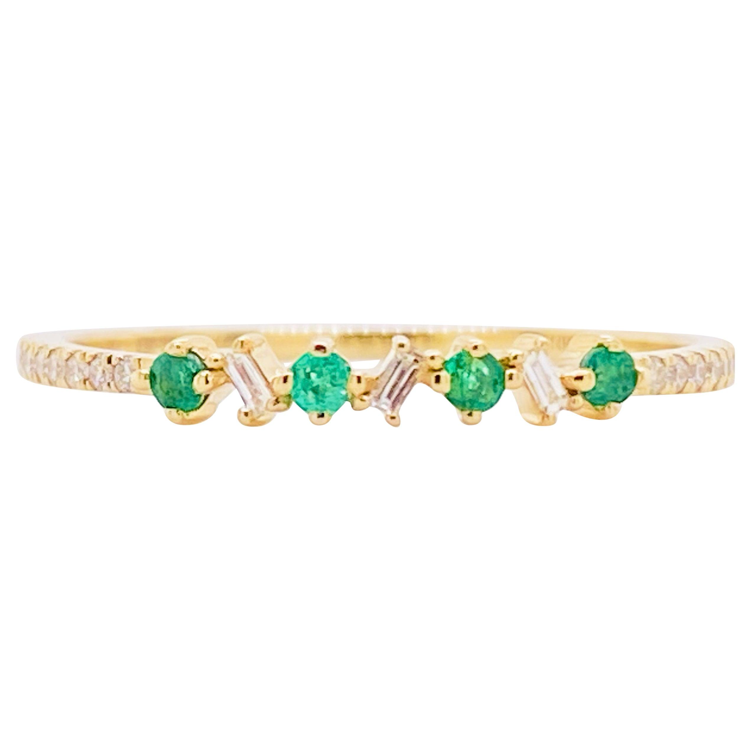 Emerald Diamond Ring, 14 Karat Gold, Round Emerald Baguette Diamond Band Stack