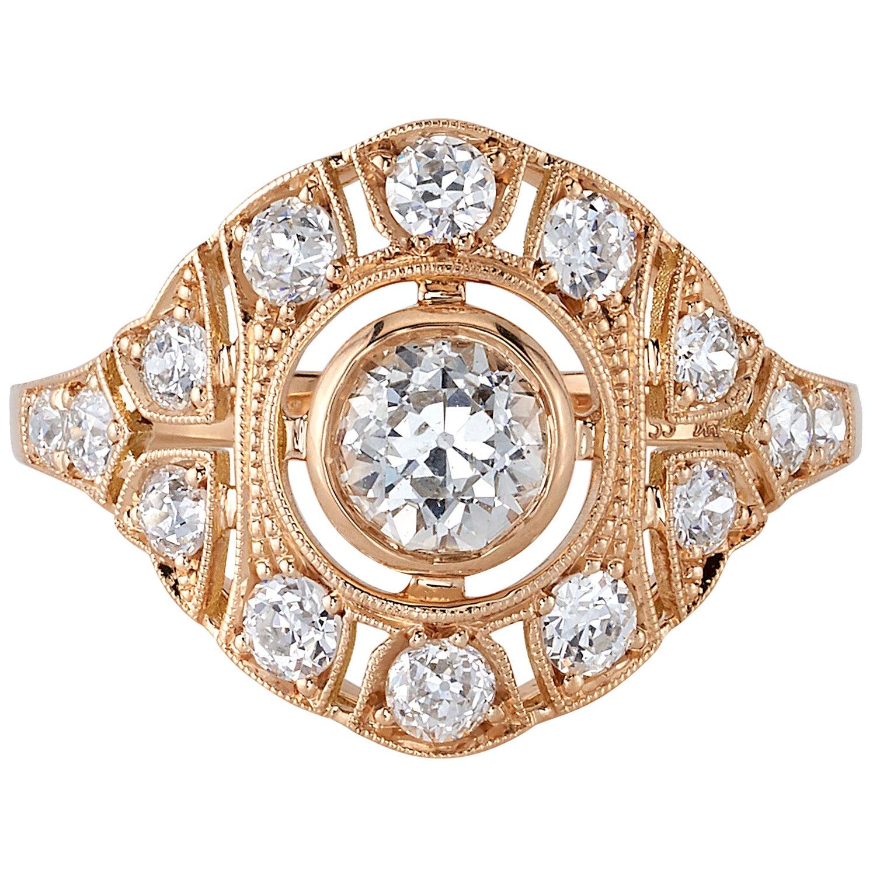 0.58 Carat Old European Cut Diamond Set in an 18 Karat Rose Gold Ring