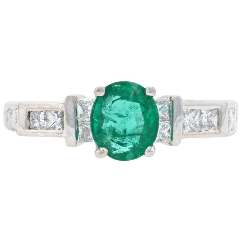 White Gold Emerald and Diamond Engagement Ring, 18 Karat Oval Cut 1.29 Carat