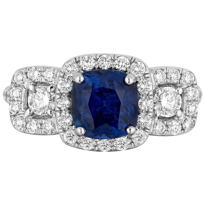 2.35 Carat Cushion Blue Sapphire Diamond Cocktail Ring