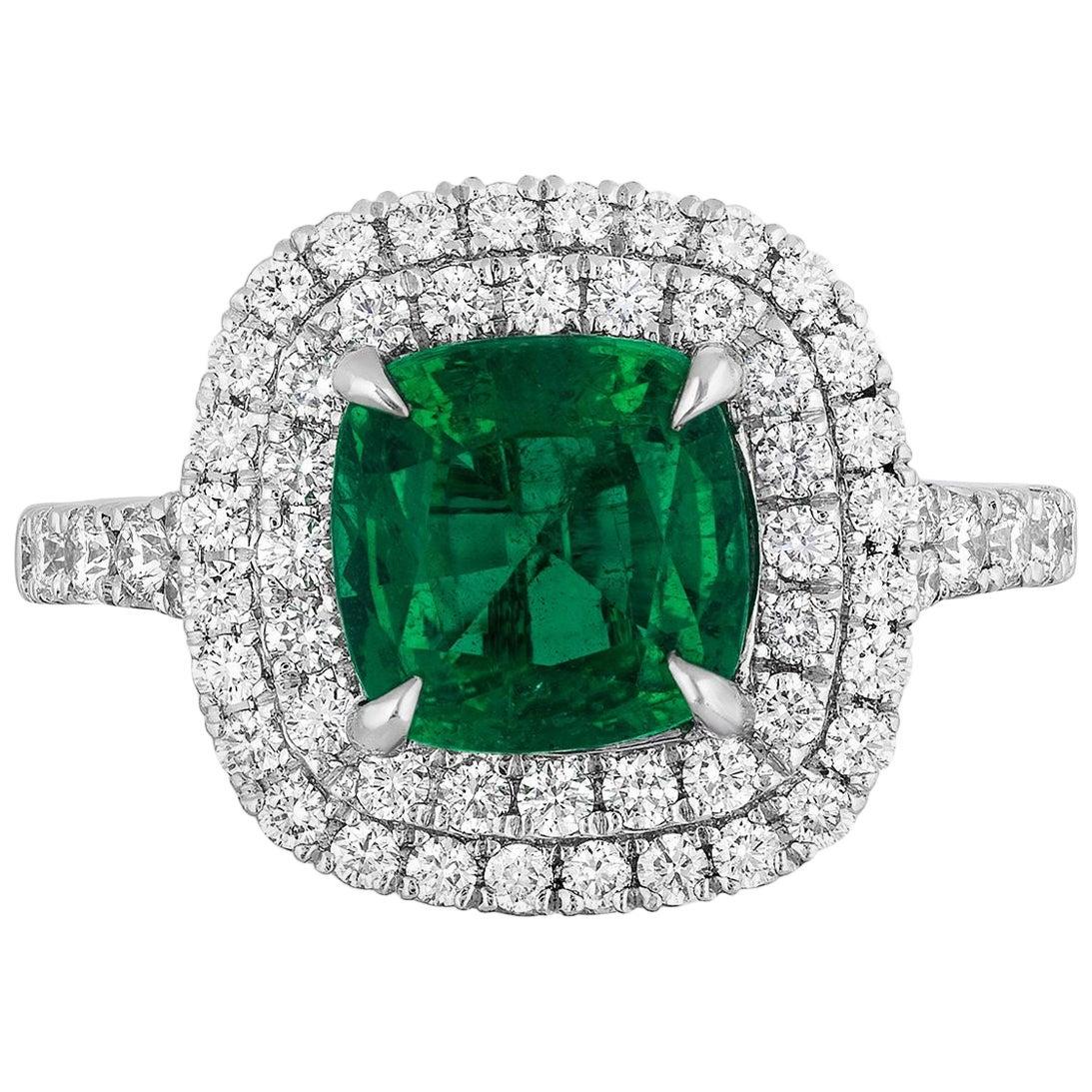 1.92 Carat Cushion Cut Zambian Emerald Diamond Cocktail Ring
