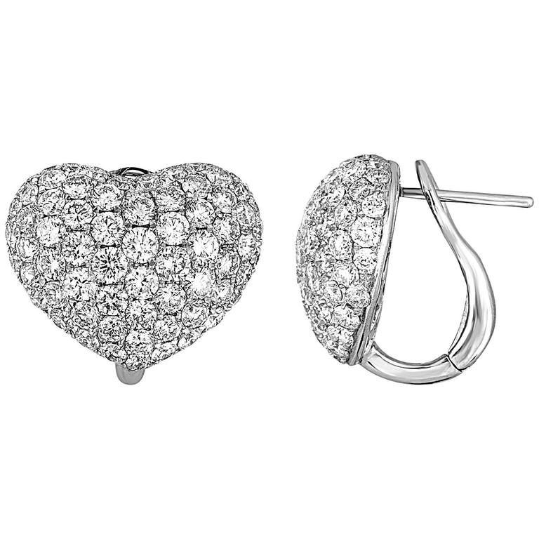 4.62 Carats Diamond Pave Gold Heart Earrings