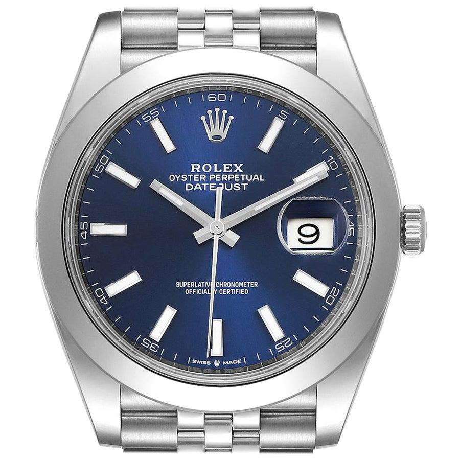Rolex Datejust 41 Blue Dial Jubilee Bracelet Steel Men's Watch 126300 Unworn