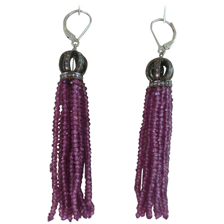 Marina J Garnet Diamond Silver Tassel Earrings