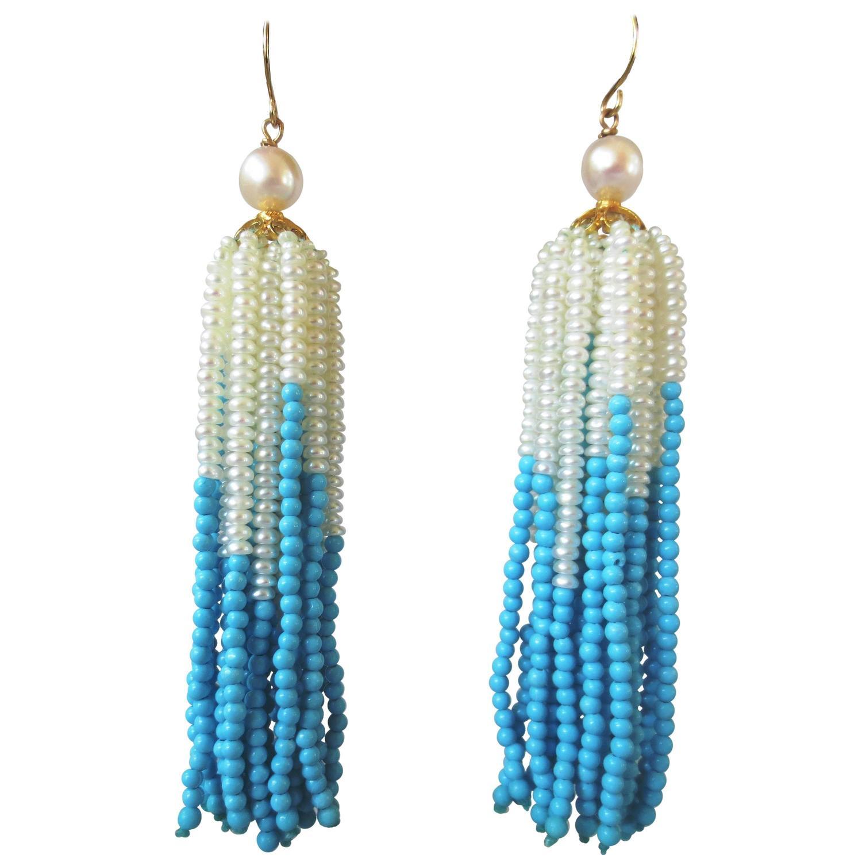 marina j pearl turquoise gold tassel earrings at 1stdibs