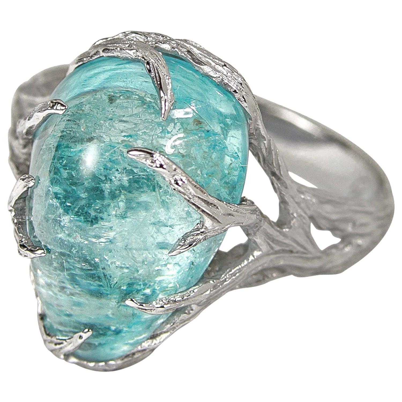 Aquamarine Ring White Gold 14K Unisex Men's Paraiba Blue Gemstone Christmas Gift