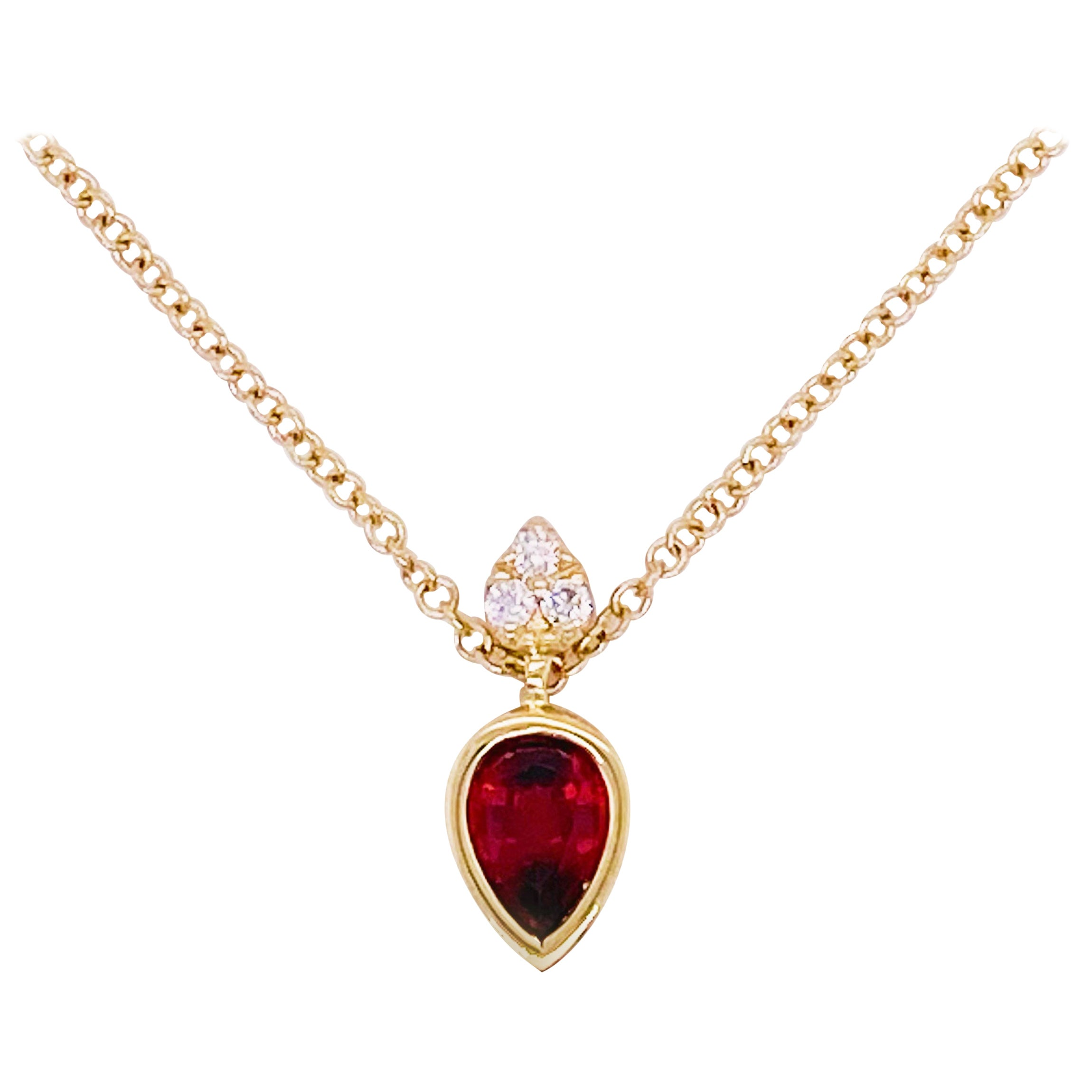 Garnet Diamond Necklace, 14 Karat Gold Pear Drop Garnet Pendant Designer Pendant