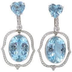 Spectacular Aquamarine Diamond Platinum Day to Night Earrings
