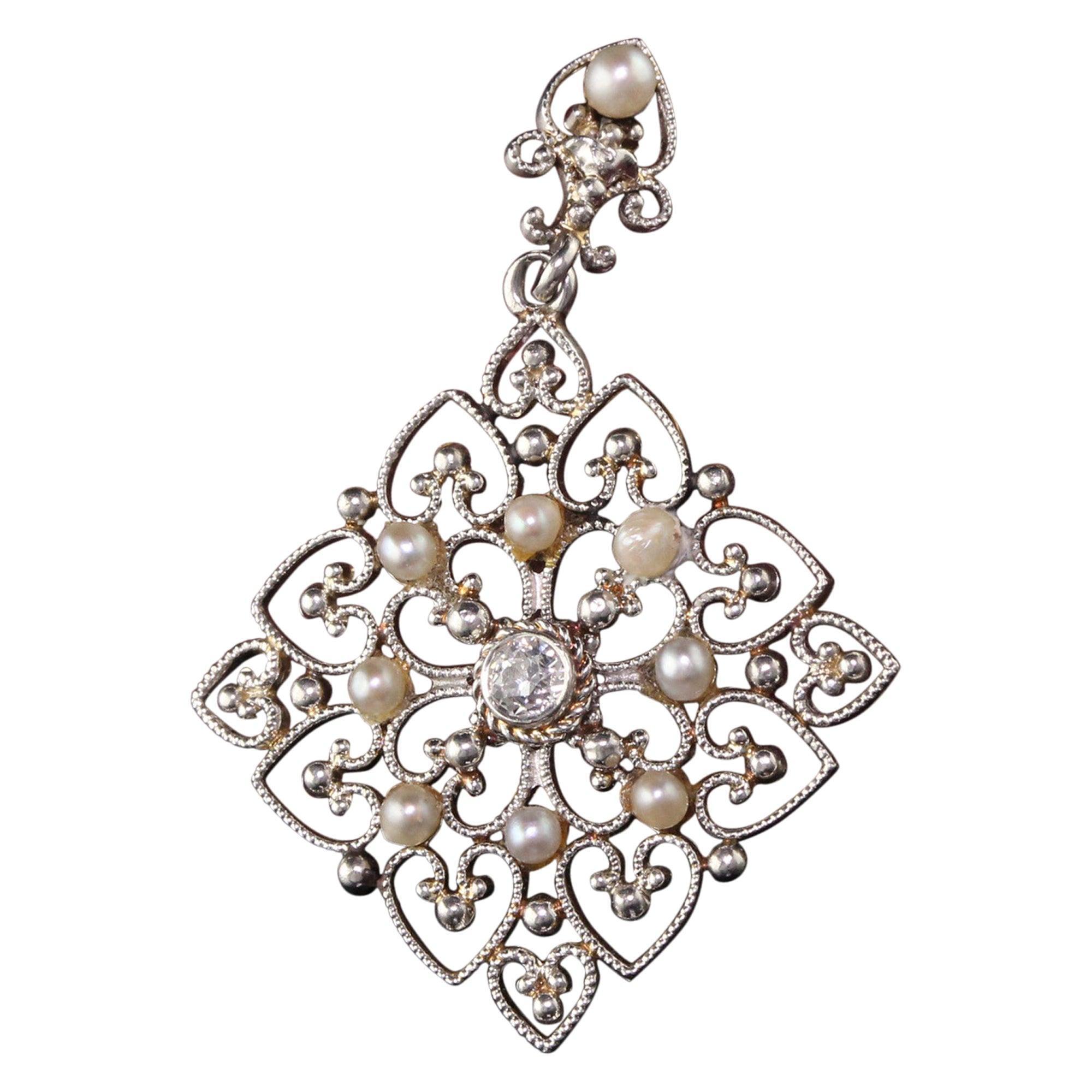 Antique Platinum Art Deco Old European Diamond and Pearl Pendant