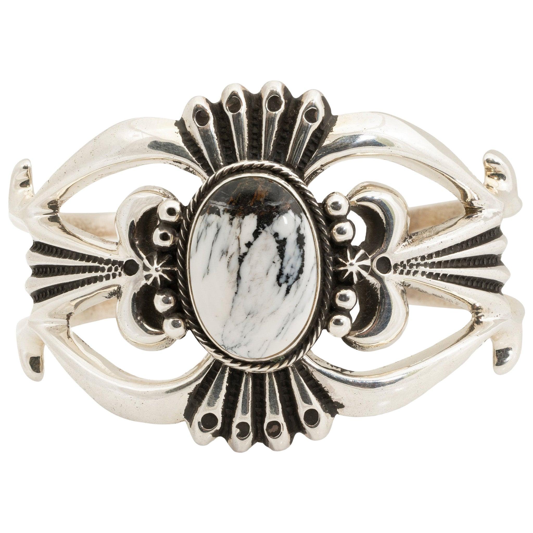 Navajo White Buffalo Turquoise Cuff Bracelet