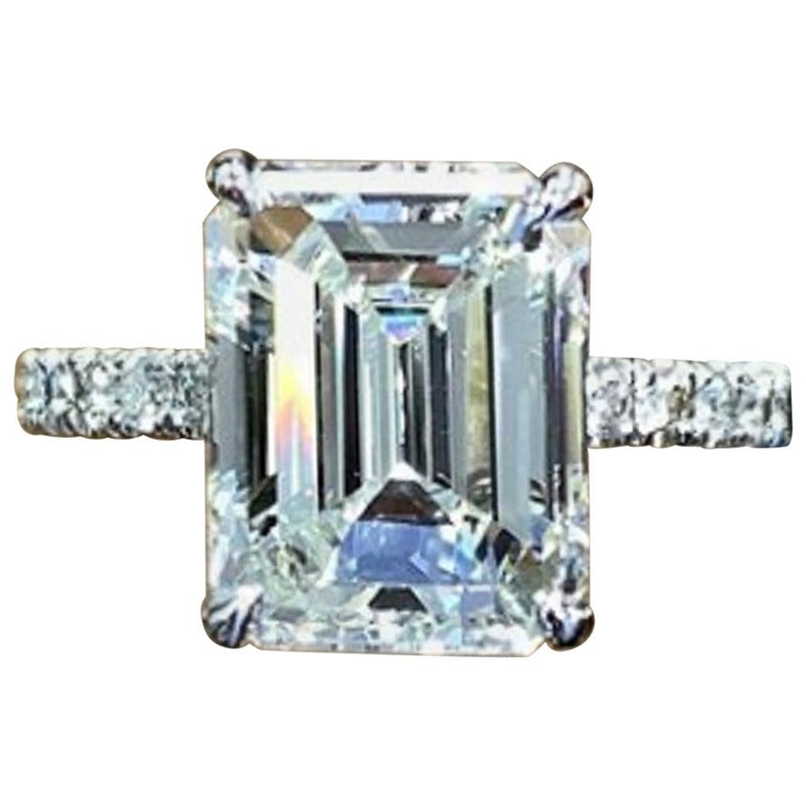 GIA 1.30 Carat VVS2 Clarity H Color Emerald Cut Diamond Ring