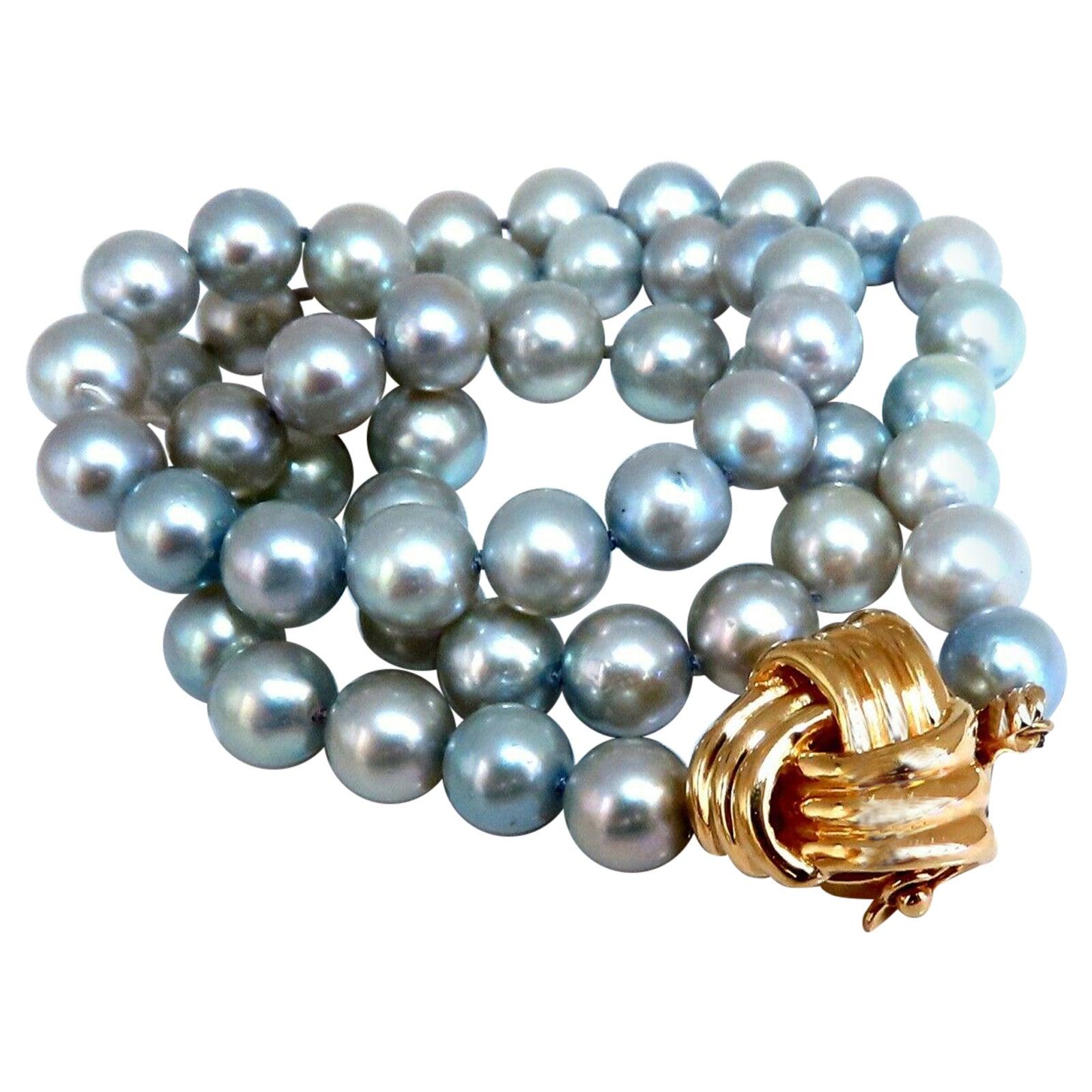 Freshwater Gray Pearls Necklace 14 Karat